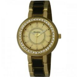 Henley Damen-Armbanduhr Henley Ladies Crystal Set Ceramic Look Watch Analog Edelstahl beschichtet gold H07169.4