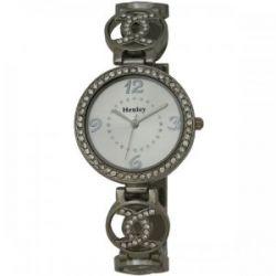 Henley Damen-Armbanduhr Henley Ladies Crystal Set Linking Links Bracelet Watch Analog Edelstahl beschichtet Silber H07164.1