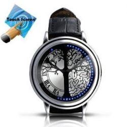 Mit blauem LED Touchscreen Leder Uhr , Mode Unisex LED UHR,Blau Hybrid Screen-LED -Uhr mit Lederband