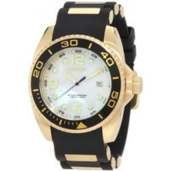 Gold Tone Stainless Steel Pro Diver Quartz Mother Of Pearl Black Rubber Strap