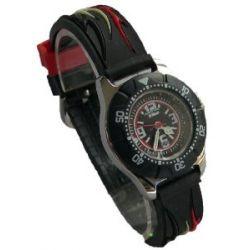 Jacques Farel Kinderuhr Armbanduhr Geschenkset Tribal in kleinem Metallkoffer - Kautschuckband mit Dornverschluss - mit Sonnenbrille 100% UV-Schutz