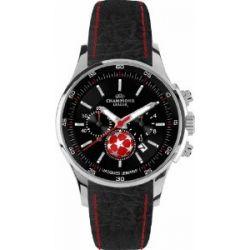 Jacques Lemans Herren-Armbanduhr XL Uefa Champions League Chronograph Quarz Leder U-32H1