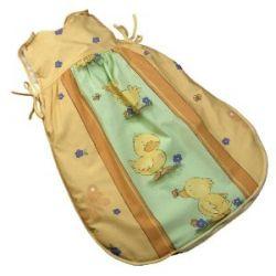 Kindertraum 6706001840070 - Ballonschlafsack Streifen mit Enten, Größe 70, gelb