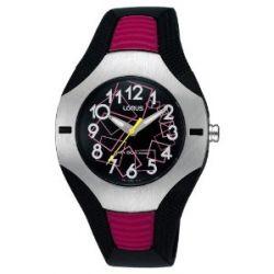 LORUS Kinderuhr 50m WR schwarz PU-Band, schwarz/pink LORUS RG297DX9