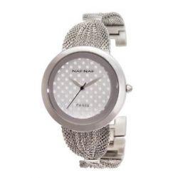 Naf Naf Damen-Armbanduhr Kittie Quarz analog Stahl silberfarben N10054-204