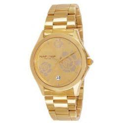 Naf Naf Damen-Armbanduhr Gaya Quarz analog Stahl goldfarben N10154G-102