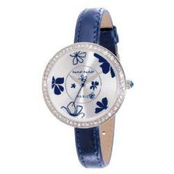 Naf Naf Damen-Armbanduhr Vanille Quarz analog Leder Blau N10082-208