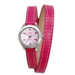 Naf Naf Damen-Armbanduhr Minny Quarz analog Leder Rosa N10112-212