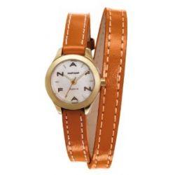 Naf Naf Damen-Armbanduhr Minny Quarz analog Leder Braun N10112-105