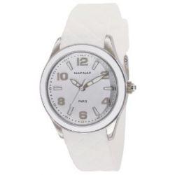 Naf Naf Damen-Armbanduhr Monna Quarz analog Gummi Weiß N10019-201