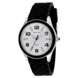 Naf Naf Damen-Armbanduhr Monna Quarz analog Gummi Schwarz N10019-203