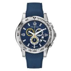 Nautica Herren-Armbanduhr XL Chronograph Quarz Silikon A19602G