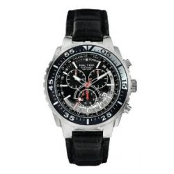 Nautica Herren-Armbanduhr XL Chronograph Quarz Leder A14678G