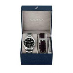 Nautica Herren-Armbanduhr XL Analog Quarz Leder A15599G