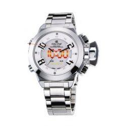 Oskar Emil Herren-Armbanduhr Oskar Emil Sigma White Sports Watch for Men Analog Digital Edelstahl silber Sigma White