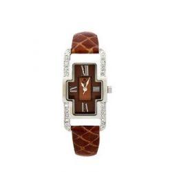 Oskar Emil Damen-Armbanduhr Oskar Emil Ladies Marbella Brown Watch with Crystals Analog Leder braun Marbella brown