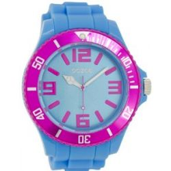 Oozoo Herrenuhr mit Silikonband XXL - Fluo Blau/Pink - C5831