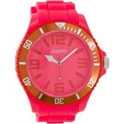 Oozoo Herrenuhr mit Silikonband XXL - Fluo Pink/Rot - C5837