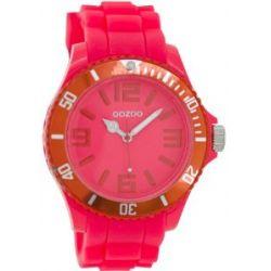 Oozoo Damenuhr mit Silikonband XXL - Fluo Pink/Rot - C5862