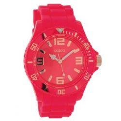 Oozoo XXL Damenuhr mit Silikonband - C5055 - Fluo Pink/Rose