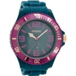 Oozoo Herrenuhr mit Silikonband XXL - Aquamarine/Aubergine/Rose - C5836