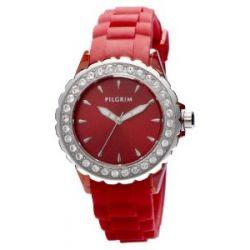 Pilgrim Damen-Armbanduhr Versilbert Rot Analog Quarz 780-271