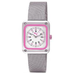 Puma Time Damen-Armbanduhr Frame Metal Silver Pink Analog Quarz Edelstahl PU102562009