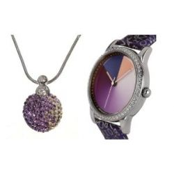 Rainbow e-motion of color Damen-Armbanduhr und Halskette Avantgardia crystal AV21A-Xmas.set-MRcl