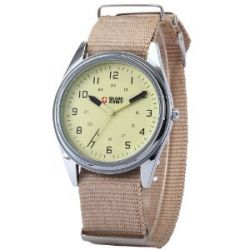 SHARK ARMY Beige Dial Mens Khaki Nylon Military Sport Quartz Wrist Watch SAW033
