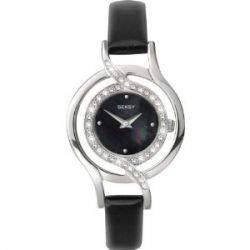 Seksy Ladies Father Of Pearl Dial Black Leather Strap Watch 4525