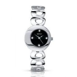Seksy Twilight Von Sekonda Damenuhr - schwarz Zifferblatt - Swarovski Kristall - Edelstahl-Armband - 4800