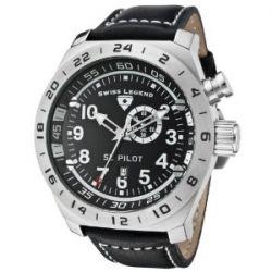 Swiss Legend Herren-Armbanduhr SL Pilot Analog Leder schwarz SL-22827-01