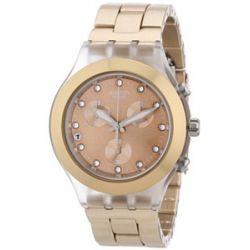 Swatch Unisex-Armbanduhr Full Blooded Caramel Unisex-Chronograph SVCK4047AG