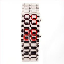 LED Uhr Silber / Rot Trend Watch Face Style Sport Herrenuhr Damenuhr HOT