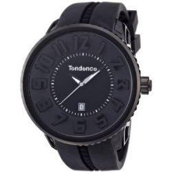 TENDENCE Unisex-Armbanduhr GULLIVER ROUND - BLACK & WHITE Analog Plastik Schwarz 02033010AA