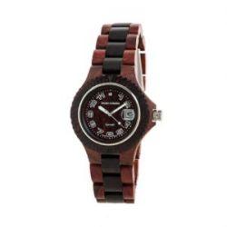 TENSE Damen-Armbanduhr Compass Lady Holzuhr braun/schwarz L4100SD