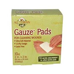 All Terrain, Gauze Pads, 10 Count, 2 in x 2 in (50 mm x 50 mm)