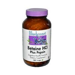 Bluebonnet Nutrition, Betaine HCl, Plus Pepsin, 180 Vcaps