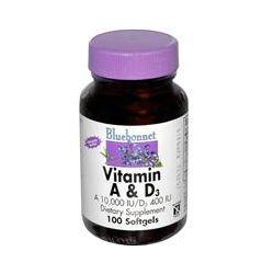 Bluebonnet Nutrition, Vitamin A & D3, 10,000 IU /D3 400 IU, 100 Softgels
