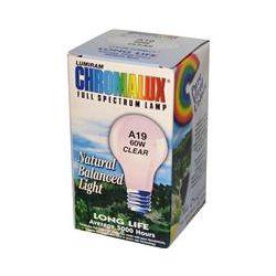 Chromalux, Lumiram, Full Spectrum Lamp, A19 60W Clear, 1 Light Bulb