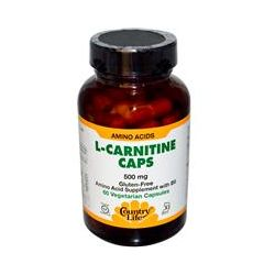 Country Life, Gluten Free, L-Carnitine Caps, 500 mg, 60 Veggie Caps