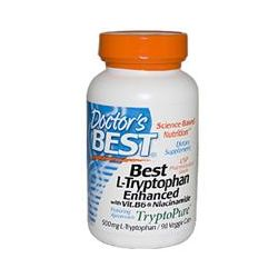 Doctor's Best, Best L-Tryptophan, Tryptopure, Enhanced with Vit. B6 & Niacinamide , 500 mg, 90 Veggie Caps