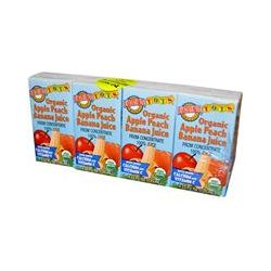 Earth's Best, Tots, Organic Apple Peach Banana Juice, 4 Boxes, 4.23 fl oz (125 ml) Each