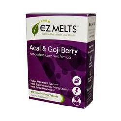 EZ Melts, Antioxidant Super Fruit Formula, Acai & Goji Berry, Natural Berry Flavor, 60 Slow Melting Tablets