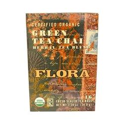 Flora, Certified Organic, Green Tea Chai Herbal Tea Blend, 16 Tea Bags, 1.30 oz (36.8 g)