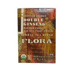 Flora, Herbal Tea Blend, Certified Organic Double Ginseng, Caffeine Free, 16 Tea Bags, 1.30 oz (36.8 g)