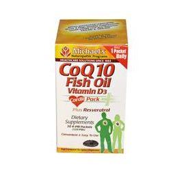 Michael's Naturopathic, CoQ10 Fish Oil, Vitamin D3, 30 4-Pill Packets, 120 Pills