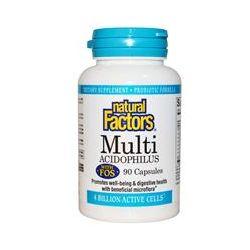 Natural Factors, Multi Acidophilus with FOS, 4 Billion Active Cells, 90 Capsules, (Ice)