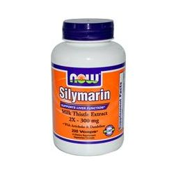 Now Foods, Silymarin, Milk Thistle Extract, 2X - 300 mg, 200 Vcaps
