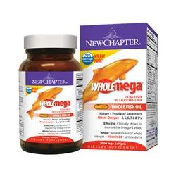 New Chapter, Wholemega, Extra Virgin Wild Alaskan Salmon Whole Fish Oil, 1000 mg, 30 Softgels